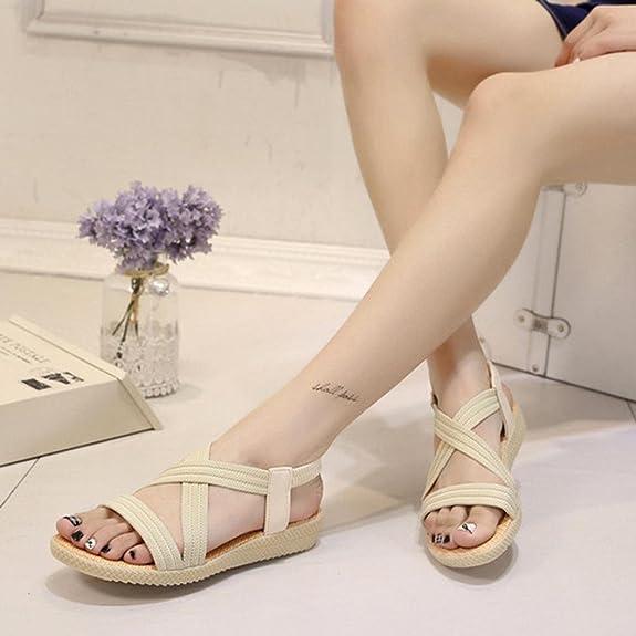 Scarpe della Boemia delle donne piatte Vovotrade Elasticit�� per il tempo libero Lady sandali peep-toe scarpe da esterno (38, Nero)