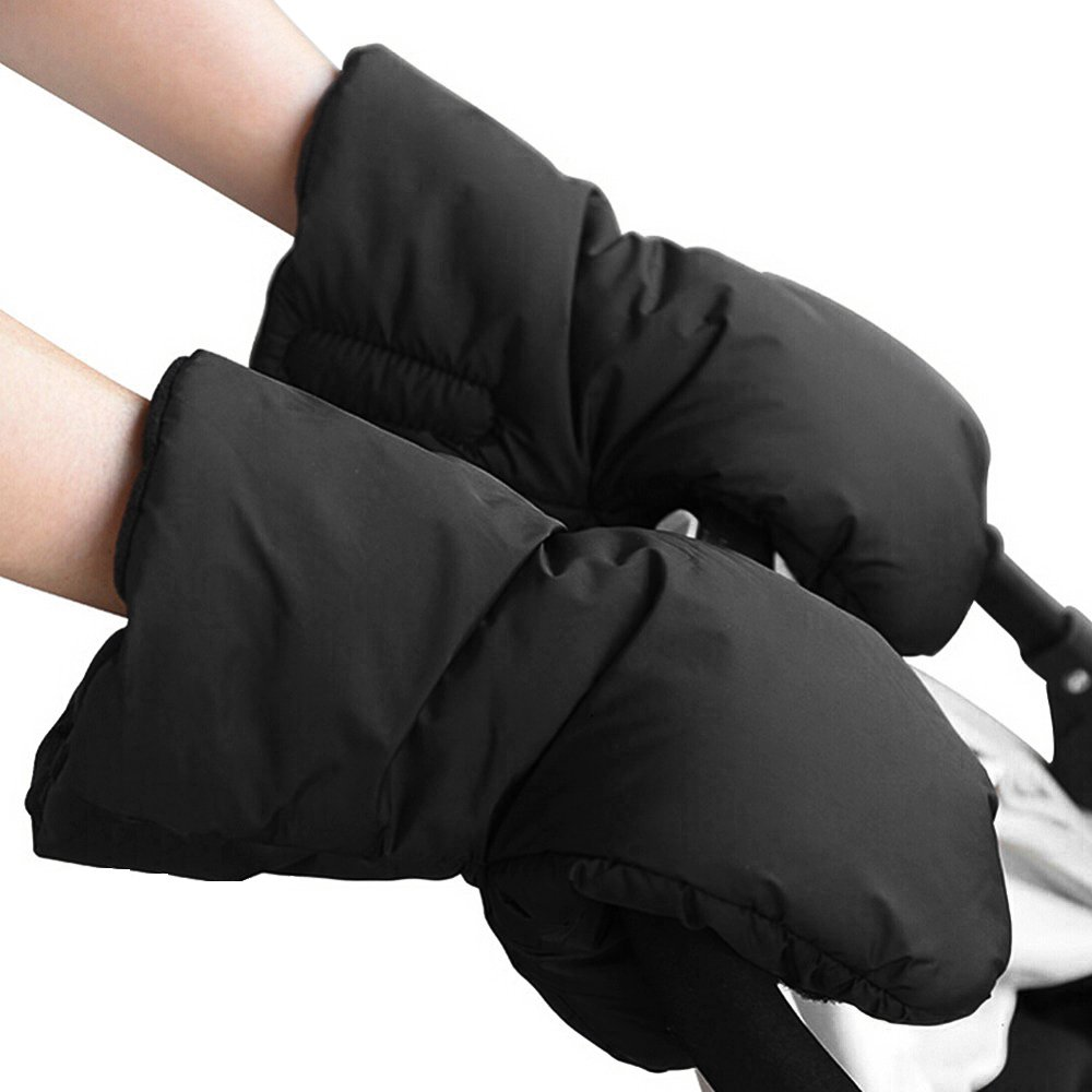 Baby Stroller Handmuff Waterproof Anti-freeze Pushchair Gloves Extra Thick Warm Winter Kids Pram Carriage Hand Cover Black Librao