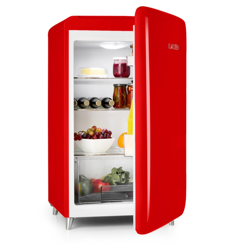 Klarstein PopArt Pink /• Nevera /• Look Retro 50/´s /• 108 L /• Congelador 13 L /• Funci/ón enfriamiento r/ápido /• Caj/ón para verduras /• 2 x Cajones /• Botellero /• Huevera /• Apertura a la