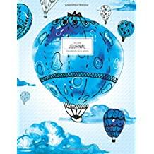 Dot Grid Journal - Blue Watercolor Hot Air Balloons: Dotted Notebook (Large Journals To Write In)