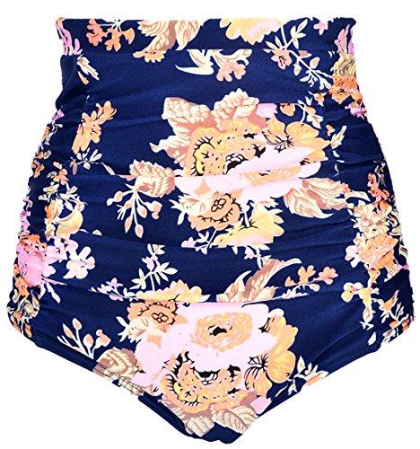 ebuddy Women Retro High Waisted Bikini Bottom Ruched Swim Short Tankinis - Pattern Bikini Bottom Swimsuit