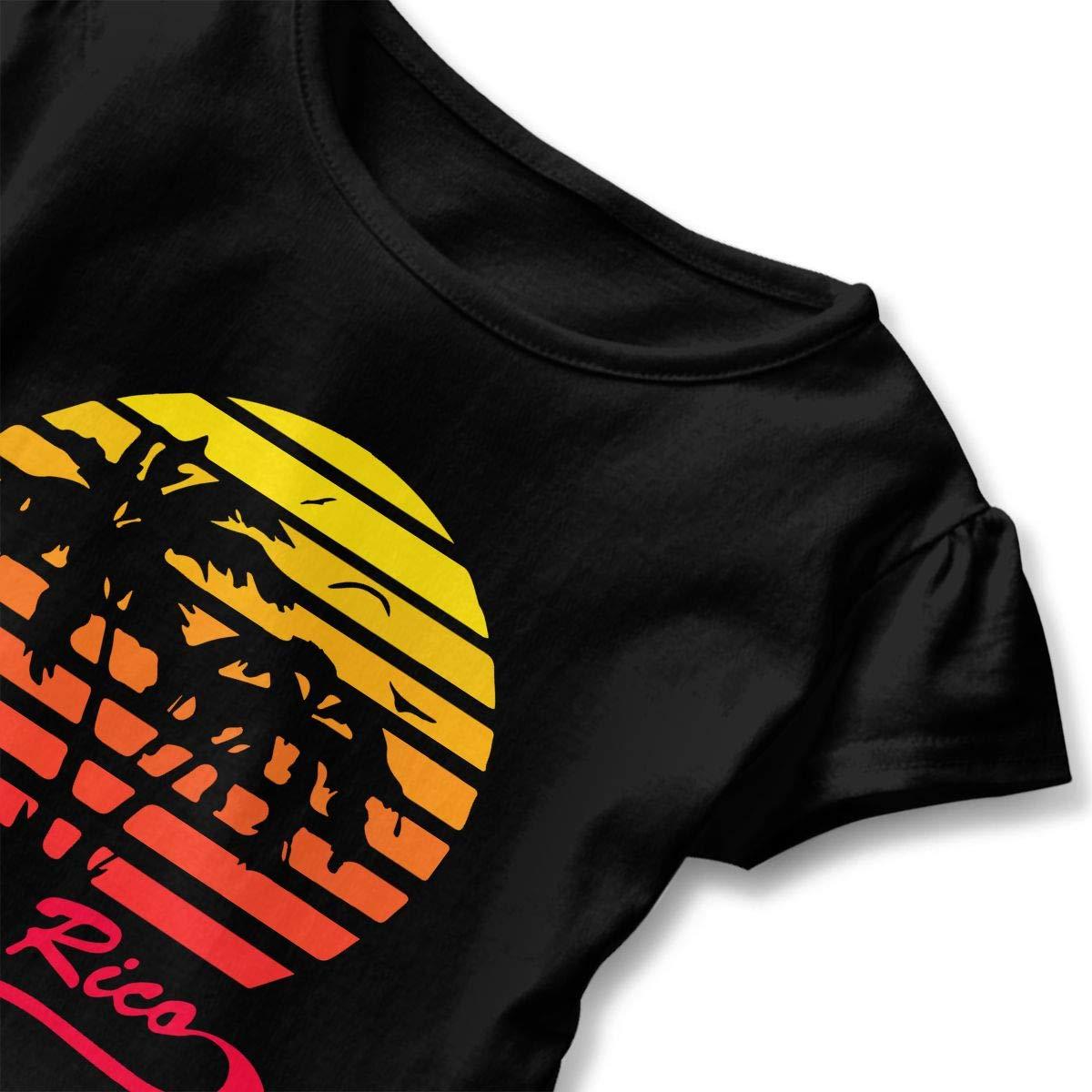 2-6 Years Puerto Rico 80s Tropical Sunset Baby Girls Short Sleeve Ruffle Tee Cotton Kids T Shirts