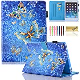 New iPad 2017 9.7 Inch Case/iPad Air 1st / 2rd Generation Case, Dteck PU Leather Smart Multi-Angle Stand Protective Cover Auto Wake/Sleep Feature Case for iPad 2017 9.7 Inch, iPad Air 1 2, Butterfly
