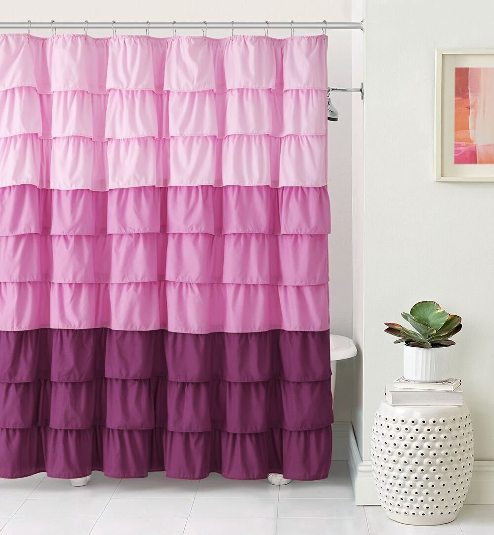 Light pink ruffle shower curtain - Amazon Com Vcny Home Heavy Duty Luxurious Gypsy Ruffled Ombre Fabric Shower Curtain Assorted Colors Pink Home Kitchen