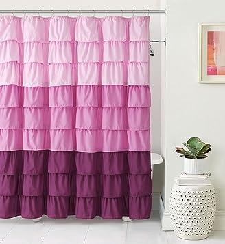 Amazon VCNY Home Heavy Duty Luxurious Gypsy Ruffled Ombre Fabric Shower Curtain