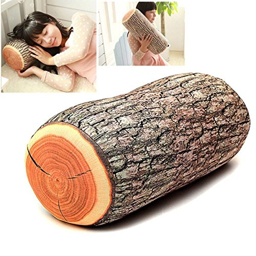 Pillow Cushion Soft Log Decor Neck Support Throw Nature Car Wood Seat Headrest Q