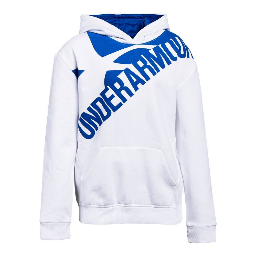 Under Armour Girls Threadborne Novelty Fleece Hoodie,White /Lapis Blue, Youth X-Small