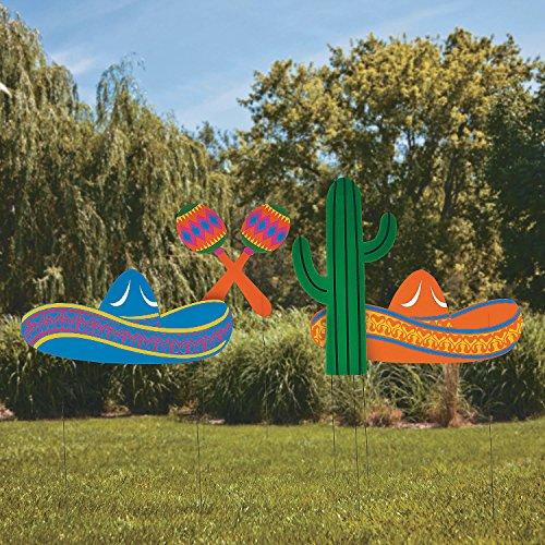 Fun Express - Fiesta Yard Stakes (4pc) for Cinco de Mayo - Party Decor - General Decor - Yard Signs - Cinco de Mayo - 4 Pieces ()