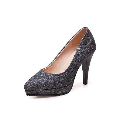 MEI&S Les Talons Aiguilles Pointues Toe Chaussures Bouche Peu Profondes,Black,35