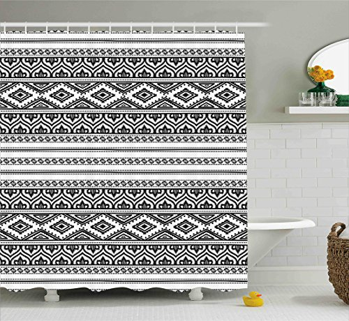Ethnic Shower Curtain by Ambesonne, Oriental Tribal Moroccan Round Style Lines Dots Geometric Shapes Artwork Image, Fabric Bathroom Decor Set with Hooks, 70 Inches, Black and (Dot Geometric Shower Curtain)