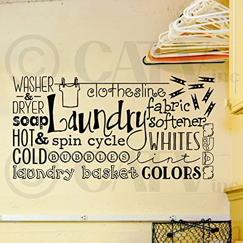 Laundry Collage saying lettering sticker