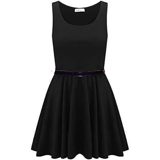 3ce9dc1b90 Ditzy Fashion Women s Sleeveless Belted Flared Short Mini Frankie Pleated  Skater Dress Small   Medium Black