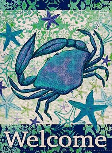 (Furiaz Decorative Tropical Crab Small Garden Flag Double Sided, Home Burlap Ocean Welcome Quote Starfish Nautical Sea House Yard Decoration, Seasonal Coastal Outdoor Décor Flag 12.5 x 18 Spring Summer)
