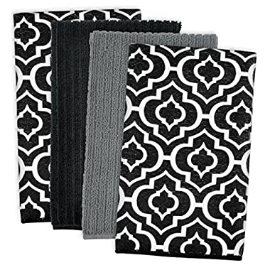DII Cleaning, Washing, Drying, Ultra Absorbent, Lattice Microfiber Dishtowel 16x19  (Set of 4) - Black