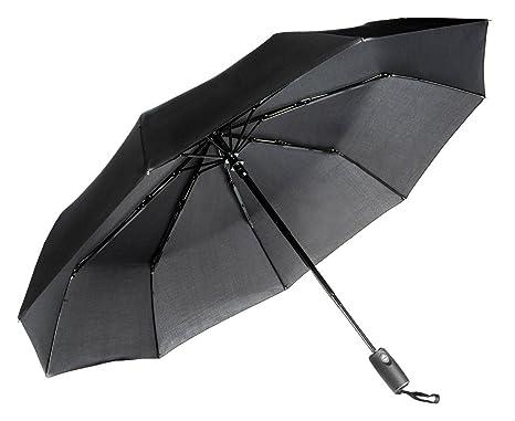 Aukelly Paraguas Negro de Viaje Plegable con Apertura y Cierre Automático Paraguas Antiviento Compacto y Ligero