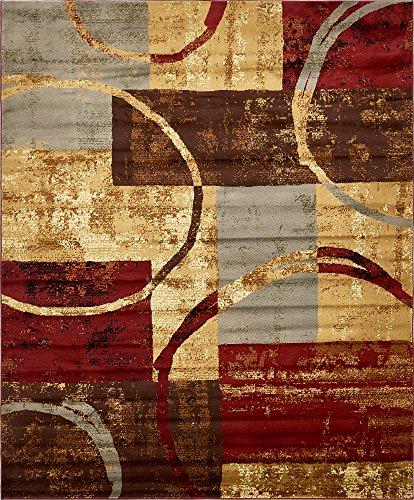 Unique Loom Barista Collection Modern Circles Rustic Warm Multi Area Rug (8' 0 x 10' - Area Multi Rug Dark