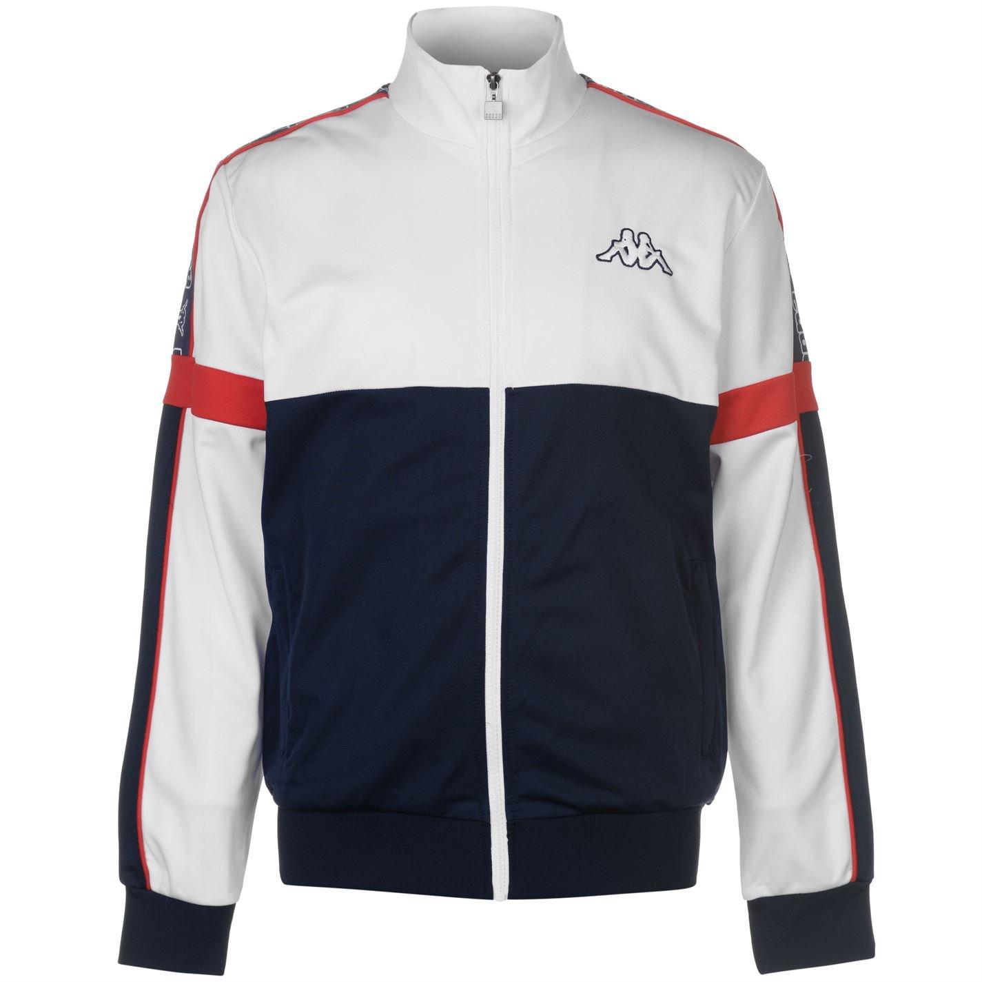 Kappa Mens Panel Jacket Tracksuit Top Coat Long Sleeve Zip Full Block Colour White Large by Kappa