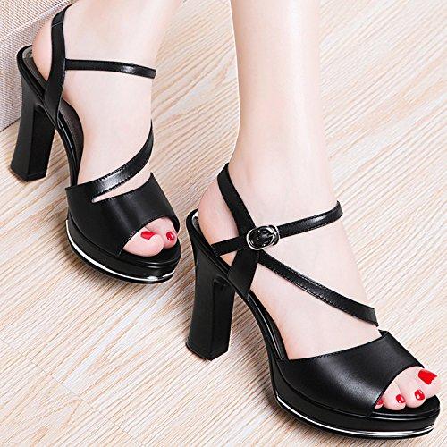 SHOESHAOGE Boucle 18 Chaussures À EU39 Chaussures UK6 6 Hauts Poisson À À Sandales Bouche Talons Talons Femmes Rugueuse Avec Créneaux Hauts rx8rwqRF