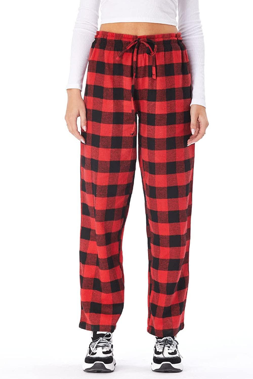 Anyou Womens Pajama Pants Comfy Stretch Plaid Pajama Wide Leg Lounge Pants