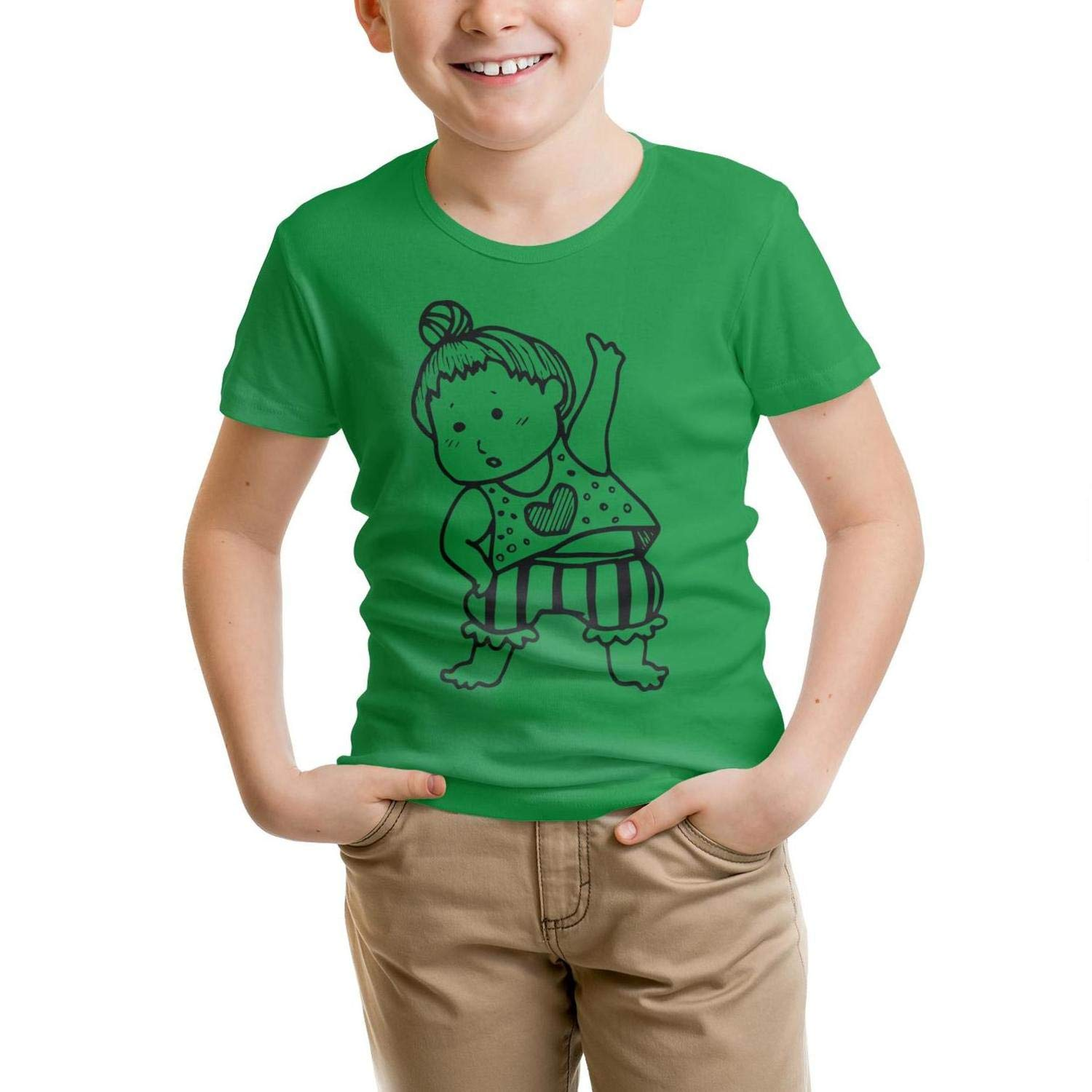 usYnCV Cotton Do Morning Exercises t-Shirt Slim-Fit for Kids Shirts Pretty Pattern