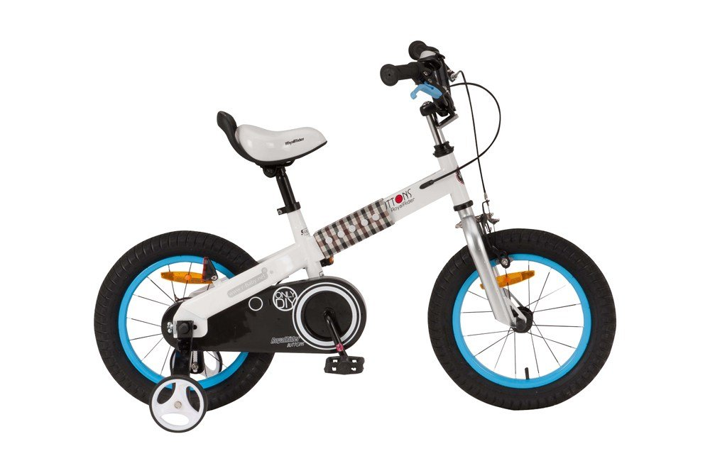ROYALBABY(ロイヤルベイビー) 14インチ 補助輪付き 子ども用 自転車 ブルー [メーカー保証1年] チェーンケース ケーブル内蔵フレーム RB-WE BUTTONS B073RZWTNF