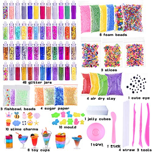 Slime Kit, 135 Pack Slime Making Kit 30 Crystal Slime, Glitter Jars, Charms, Sugar Paper, Foam Beads, Fishbowl Beads, Toy Cups, Slices, Air Dry Clay and Tools for Kids Girls by WINLIP by WINLIP (Image #1)