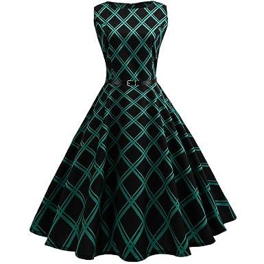 MRULIC Damen Ballkleider Vintage Note Muster ärmelloses Abend Party ...