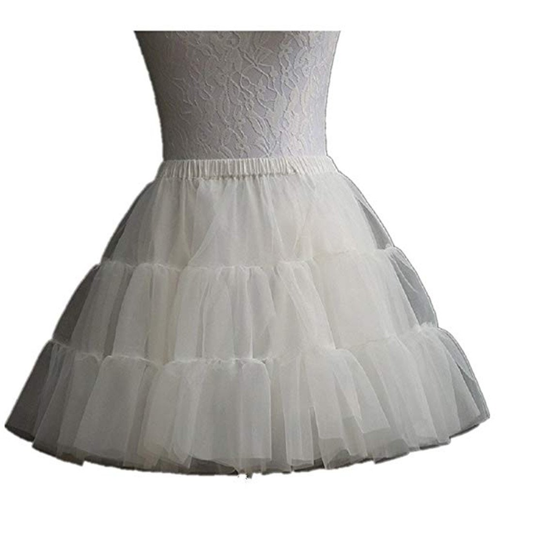 Noriviiq Kids White Hoop Skirt/Hoopless Half Slip Petticoat Crinoline for Flower Girls Dress S9991350173-UK