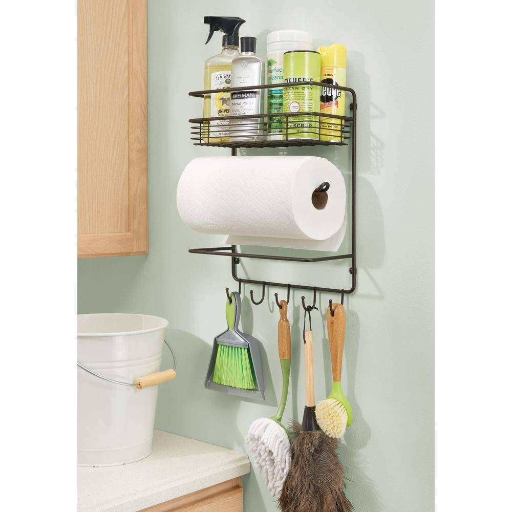 praktischer K/üchenhelfer mDesign K/üchenrollenhalter platzsparender Papierrollenhalter zur Wandmontage mit integriertem Gew/ürzregal aus Metall silberfarben