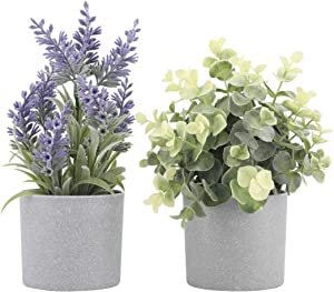 Set of 2 Artificial Potted Plants Potted Eucalyptus Plant Small Artificial Lavender Flowers in Grey Plastic Pots Fake Faux Plants for Home Office Desk Table Decor Indoor 9.5