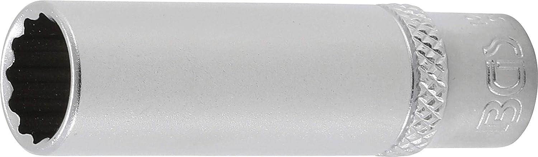 Cromado mate BGS 10710 10710-Llave de vaso de 12 cantos profundos 6,3 mm, 1//4, acero al cromo vanadio, 10 mm