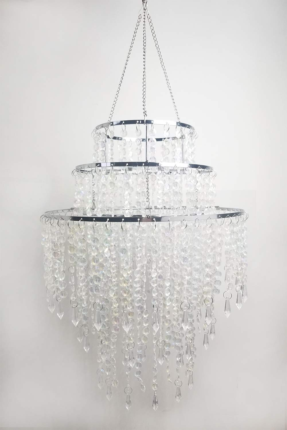 SUNLI HOUSE 3 Tiers Sparkling Acrylic Beaded Pendant Shade, Ceiling Chandelier Lampshade with Chrome Frame,12'' Diameter,Light not included