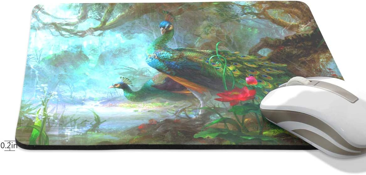 7.5x10x0.2 Jacksome Colorful Peacock Computer Mouse Pad with Non-Slip Rubber Base Premium-Textured Mousepad Mouse Pads for Computers Laptop Office /& Home
