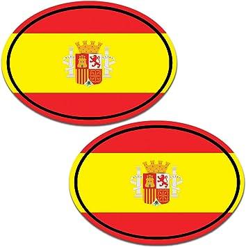 Biomar Labs® 2 pcs Pegatinas Spain Bandera Nacional España Vinilo Adhesivo Autos Coche Motos Ciclomotores Bicicletas Ordenador Portátil B 194: Amazon.es: Coche y moto