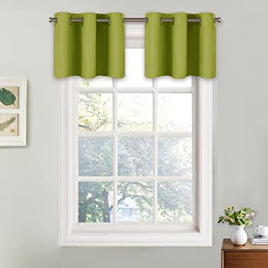 NICETOWN Fresh Green Valance Curtains for Window - Easy Care Home Decor Tier Curtains with Grommet Top (29W by 18L + 1.2 Inches Header, Fresh Green, 2 Panels)