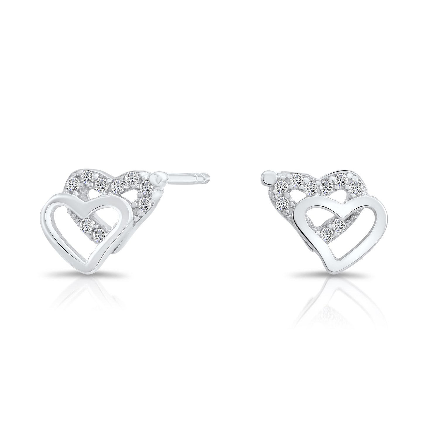 Tiny Sterling Silver Double Heart Stud Earrings with Cubic Zirconia