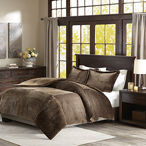 Parker Corduroy Plush Comforter Mini Set Brown Full/Queen