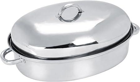 Acero inoxidable fuente para horno ovalada con tapa de accesorio ...