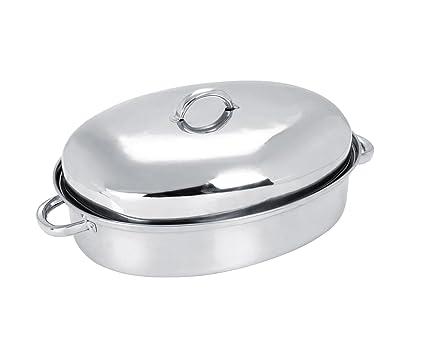Acero inoxidable fuente para horno ovalada con tapa de ...