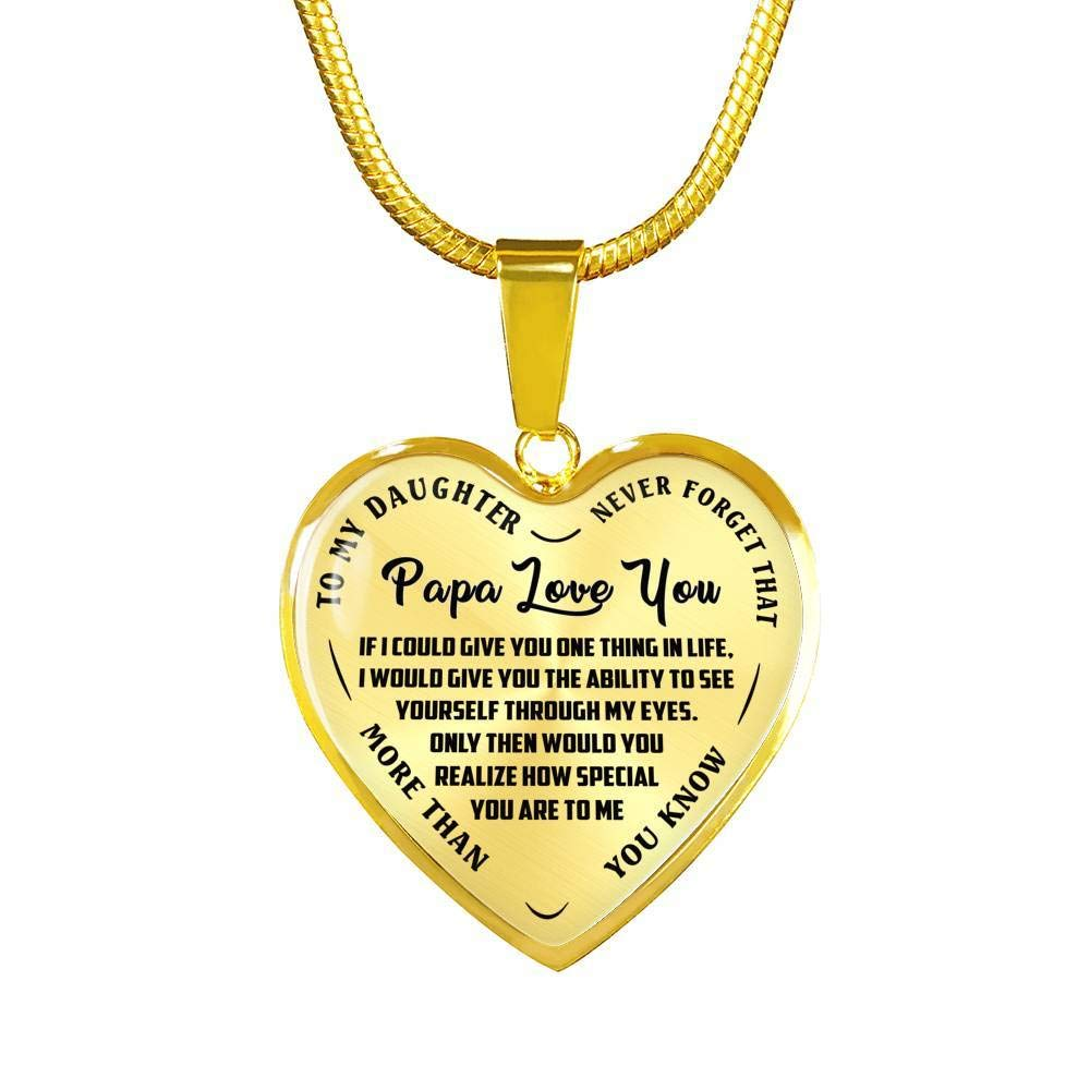 Child and Father Heart Pendant Necklace Papa Love You Luxury Adjustable 18-22 Chain Awesome Birthday Gifts for Daughter Never Forget That Quotes