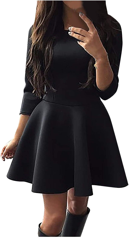 Your New Look El vestido de cuello redondo de un solo color para mujer es fresco y moderno diseño dulce y vivo, ligero, perfecto para el verano.