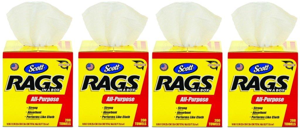 Scott Rags In A Box (75260), White, 200 Shop Towels per box, 4 Cases (8 Boxes)