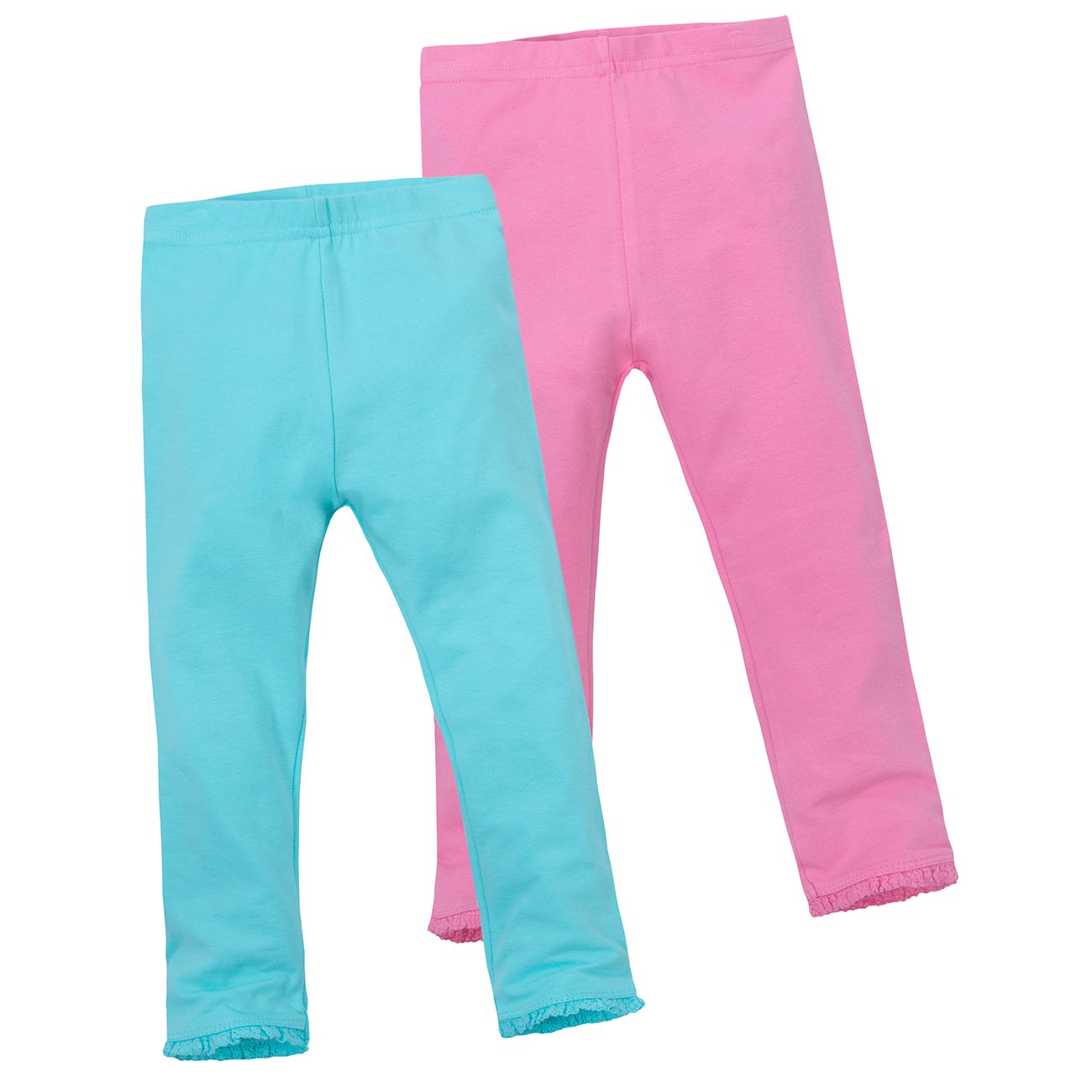 Minikidz Infant Girls 2-Pack Plain Cotton Blend Leggings with Lace Trim Detail