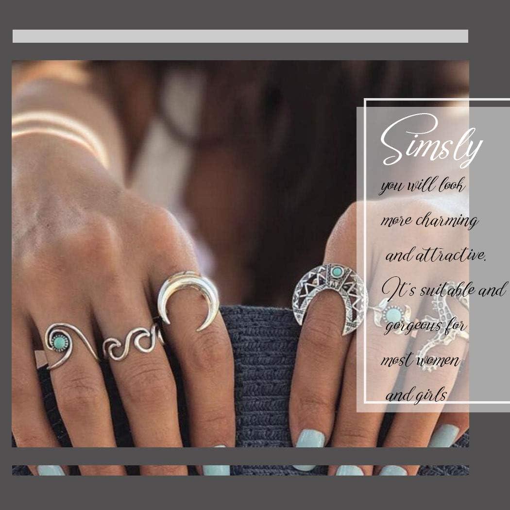 Simsly Boho per donne e ragazze stile vintage Anello per nocche a mezzaluna turchese argento