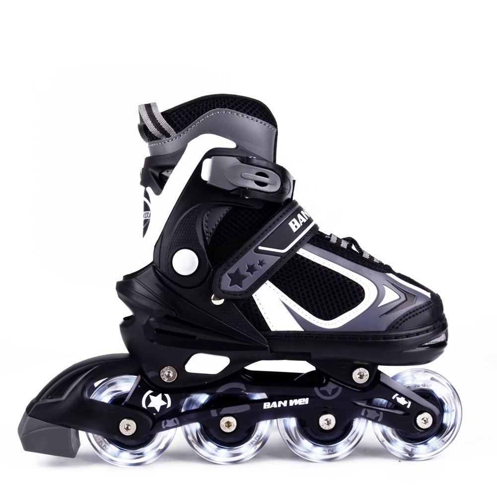 MammyGol Adjustable Inline Skates for Kids, Rollerblades Girls Boys with Light up Wheels Size2-4 (Black & Grey)