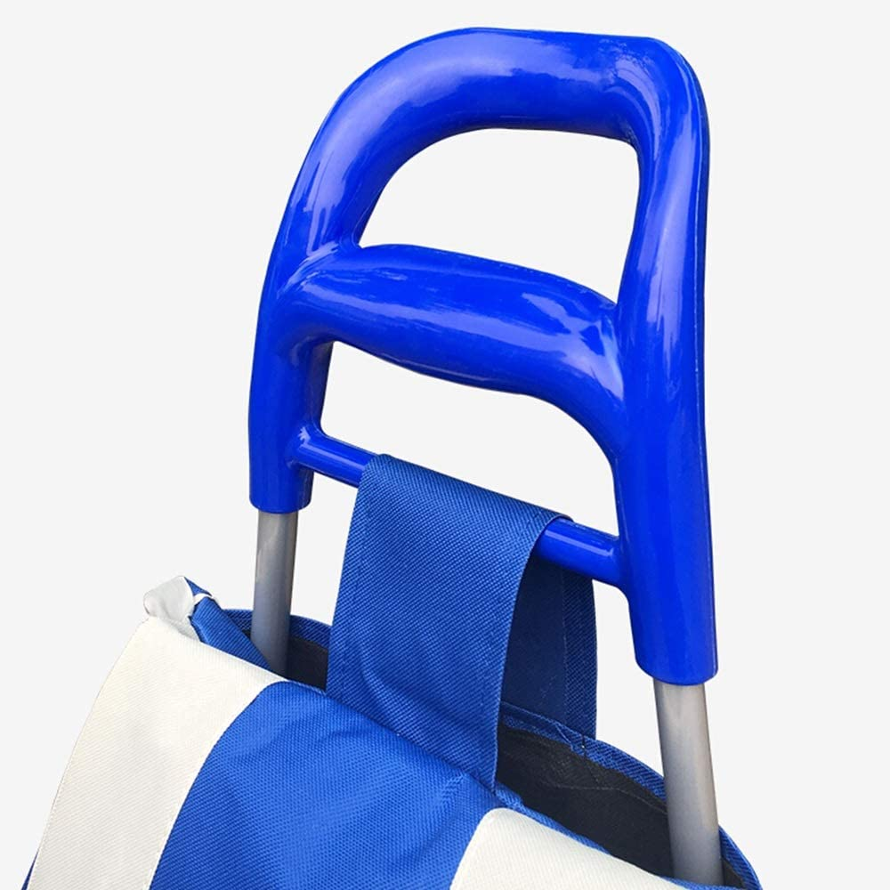 can be Used for Shopping carts Shopping carts trolleys Small carts Portable Folding Luggage carts Trolley QL Hand cart Color : Blue