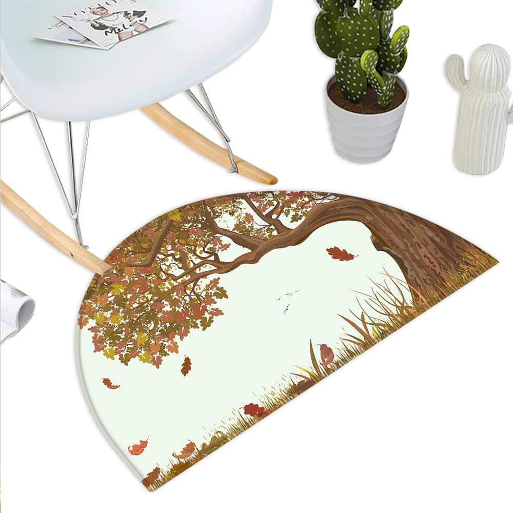 color12 H 43.3  xD 64.9  Tree of Life Semicircle Doormat Big Lush Tree with Lot of Leaves and Branches Nature Trust Home Artprint Halfmoon doormats H 27.5  xD 41.3  Black White Green