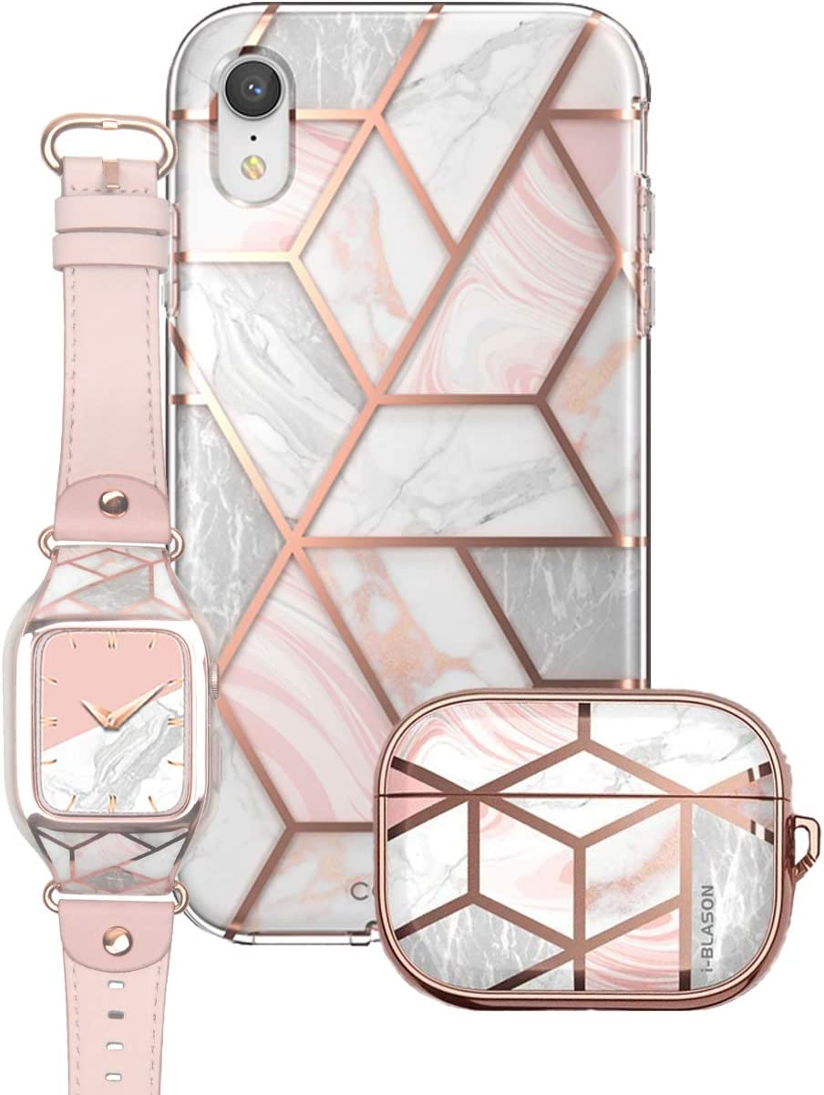 i-Blason Cosmo Pink Trio Bundle - iPhone XR, AirPods Pro & Apple Watch 4/5 44mm Case