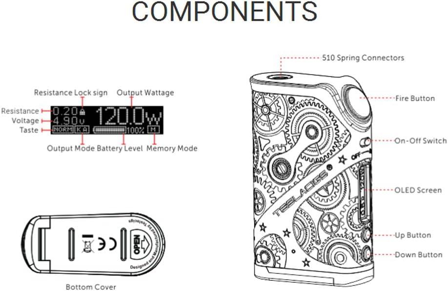 Teslacig Nano 120W E Cigarette Vape Mod Box Kit E shisha Battery ...