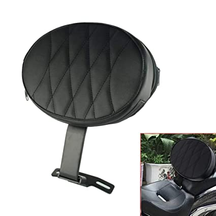 Adjustable Plug In Driver Backrest Black Diamond Pad Rider Pocket For Harley Dyna Heritage Softail Fatboy